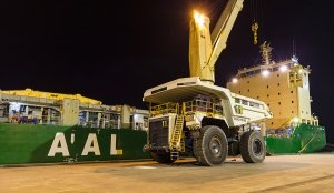 AAL Dampier Loading Giant Haul Trucks in Bunbury Port, AUS
