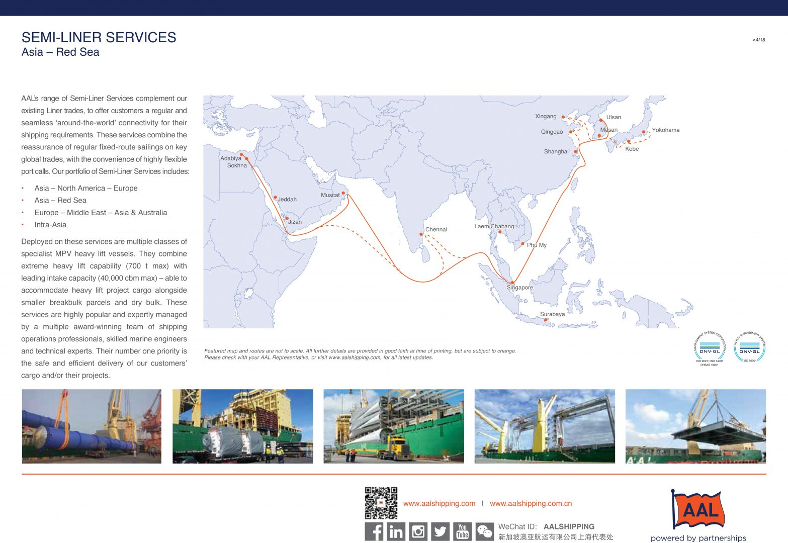 Asia - Red Sea Semi-Liner Service Route Map