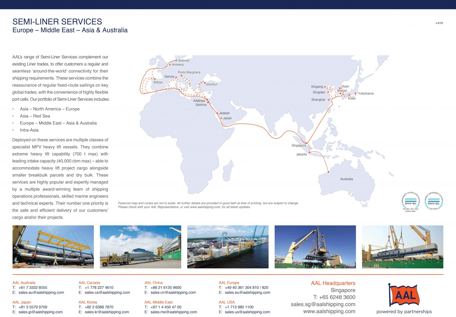 Europe - Middle East - Asia & Australia Semi-Liner Service Route Map